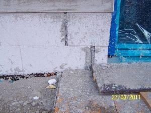 Mangelhaft ausgeführtes Außenmauerwerk